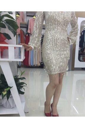 İpek Kadın Krem Elbise