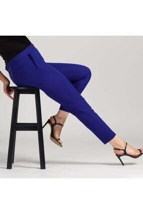 MODAMAİSA Kadın Saks Mavisi Dar Bilek Pantolon