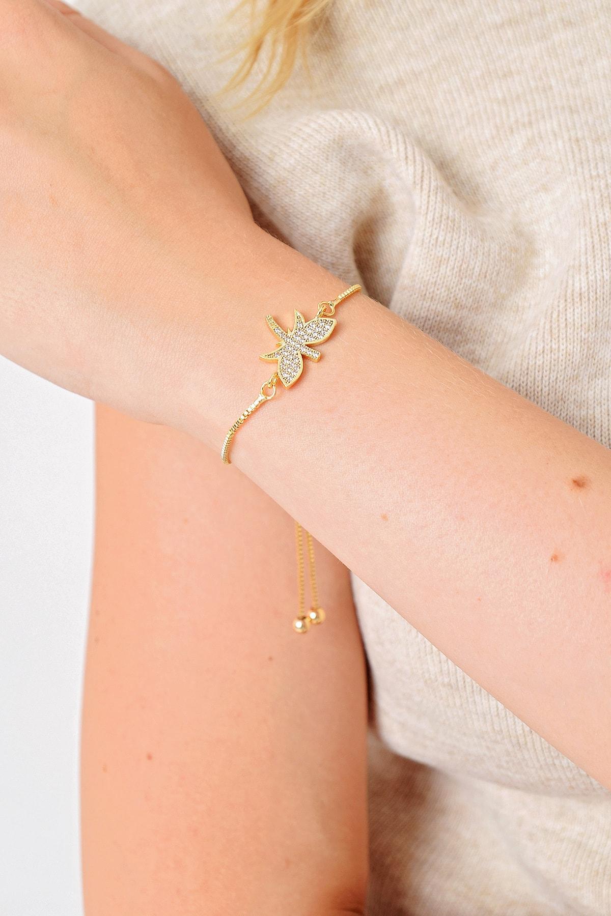 Trend Alaçatı Stili Kadın Gold Taşlı Asansörlü Çelik Bileklik ALC-A2020 1