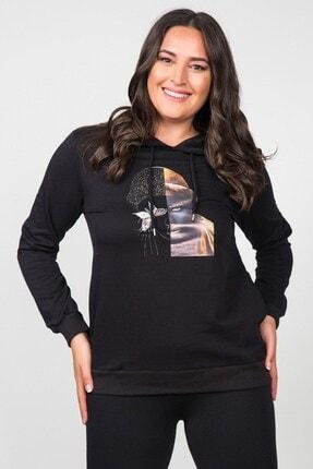Womenice Kadın Siyah Önü Gold Basklı Kapşonlu Büyük Beden Sweatshirt