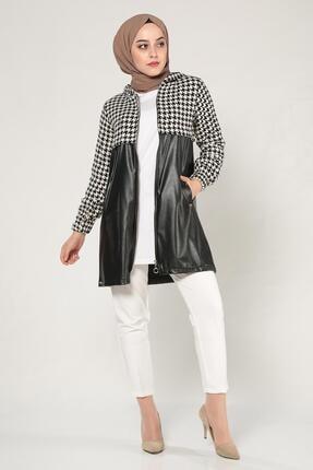 MODA GÜLAY Kadın Siyah Deri Garni Ceket