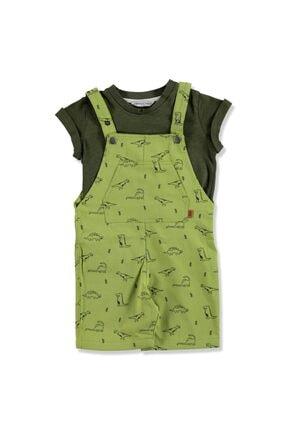 Midimod Yaz Erkek Bebek Kontör Dinozor Süprem Tshirt- Gabardin Salopet Takım