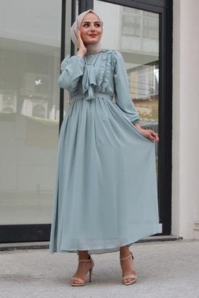 meqlife Su Yeşili Kurdeleli Fırfırlı Elbise