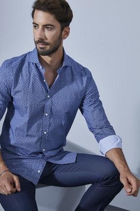 Sateen Men Erkek Mavi Slimfit Desenli Pamuk Gömlek