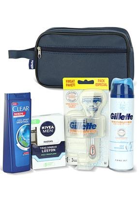 Gillette Erkek Cilt Bakım Seti + Clear Men Şampuan 180 Ml + Nivea Tıraş Sonrası Losyon 100 Ml