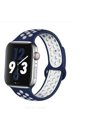Sunix Apple Watch Silikon Delikli Kordon Iwatch Uyumlu Kayış Seri 42mm/44mm - Mavi Beyaz Nike Spor