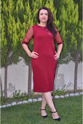 zeynep Kadın BordoKol Uçları ve Tek Yanı Pullu Büyük Beden Elbise
