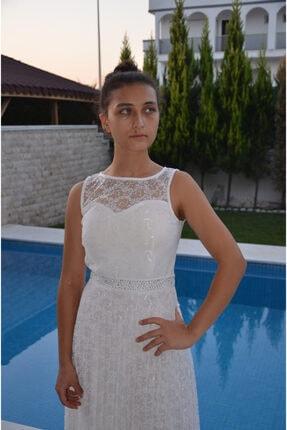 zeynep Kadın Beyaz Dantel ve Taş Detaylı Piliseli Elbise