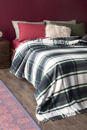 English Home Mackenzie Simli Pamuklu Çift Kişilik Battaniye 200x220 Cm Yeşil
