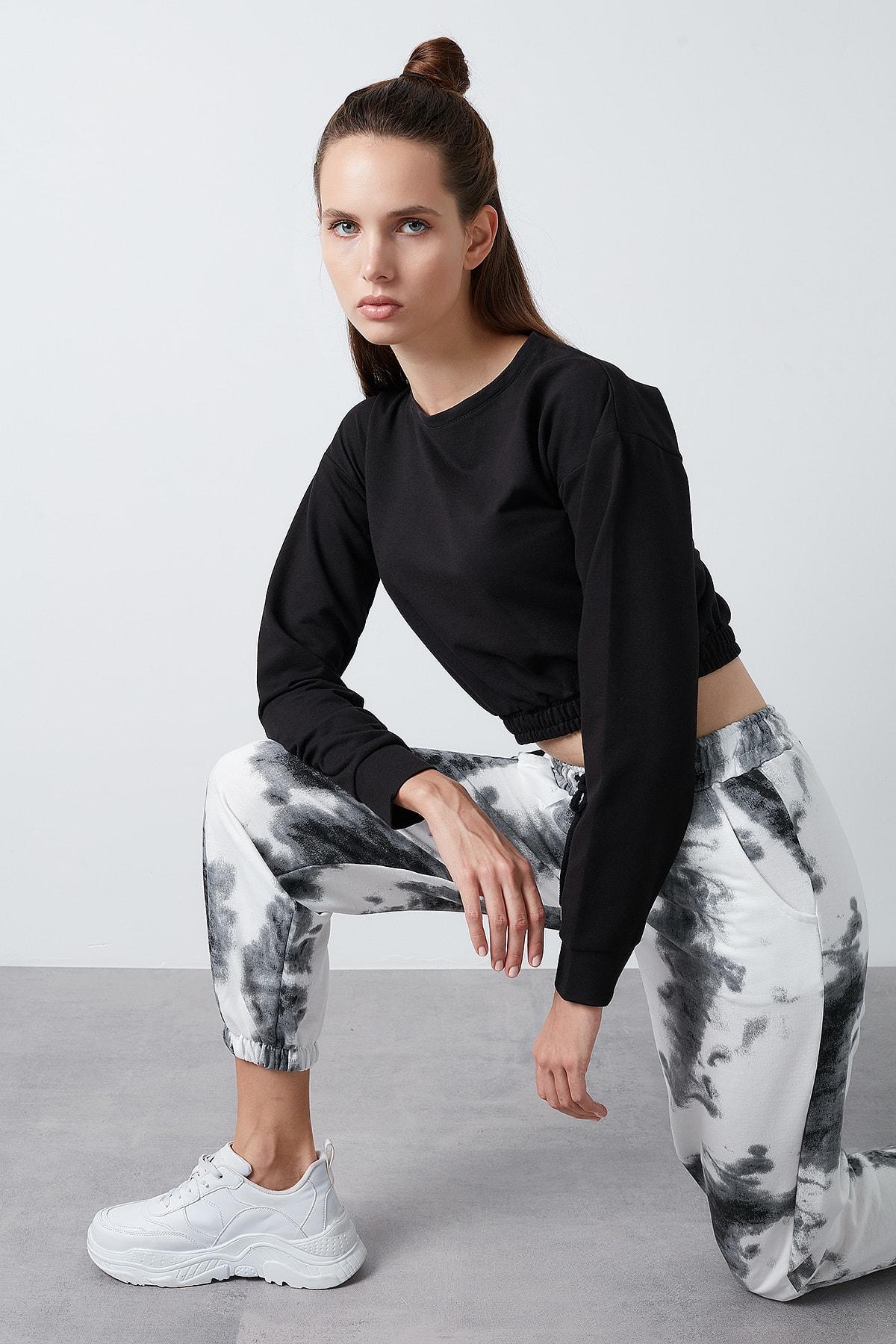 Lela Kadın Siyah Belden Bağlamalı Cepli Paçası Lastikli Pantolon 1