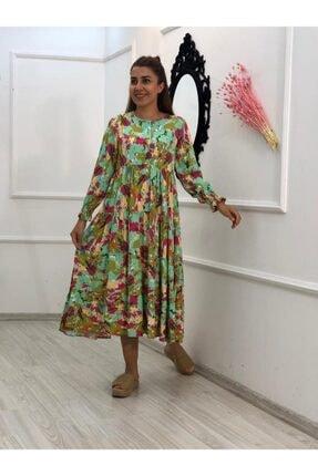 Esrabutik Kadın Turkuaz Uzunkol Dokuma Viskon Elbise