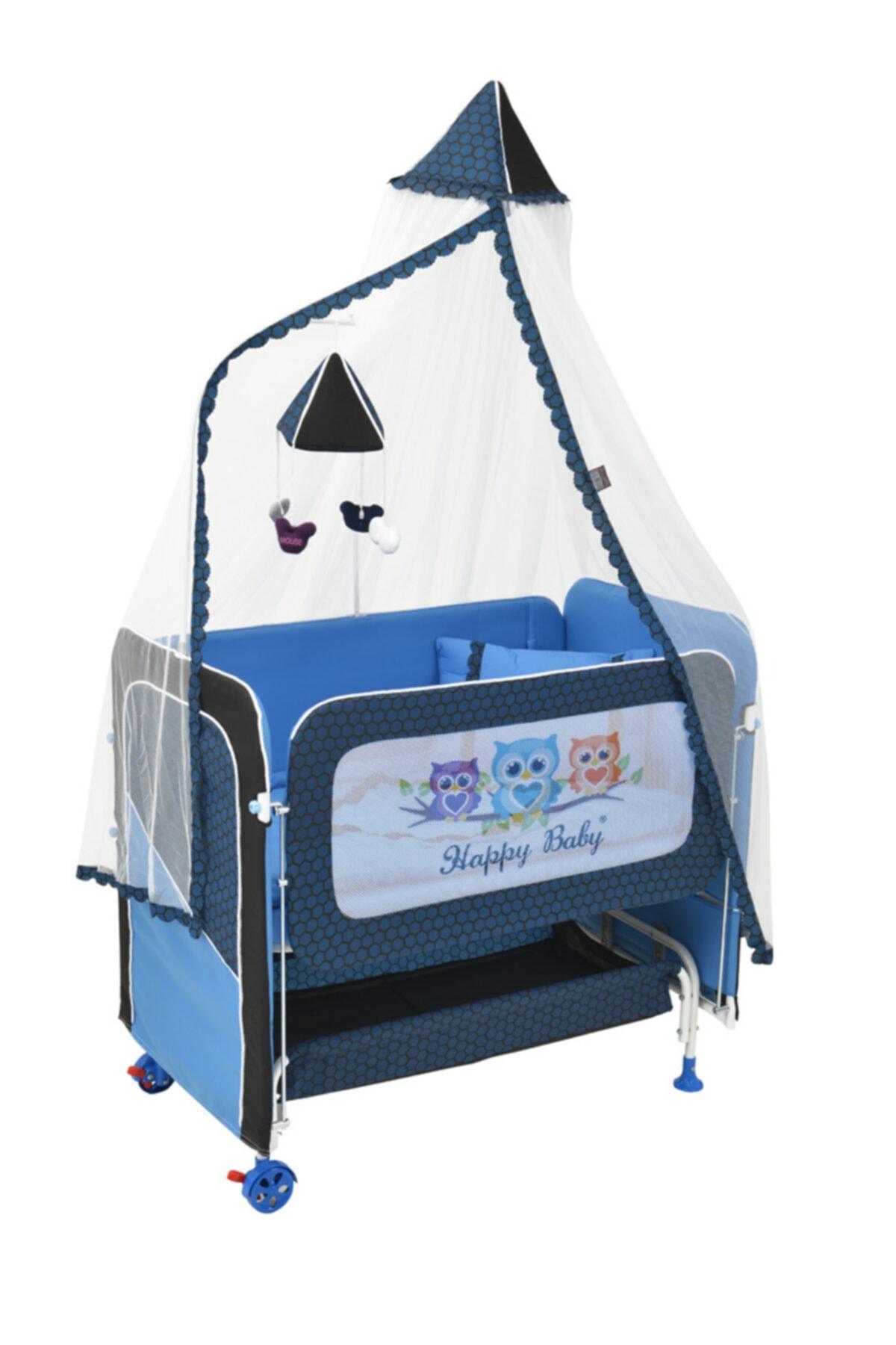 Happy Baby Mavi Anne Yanı Plus Asansörlü Beşik 2