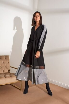 Setre Kadın Siyah V Yaka Kumaş Mixli Midi Boy Elbise