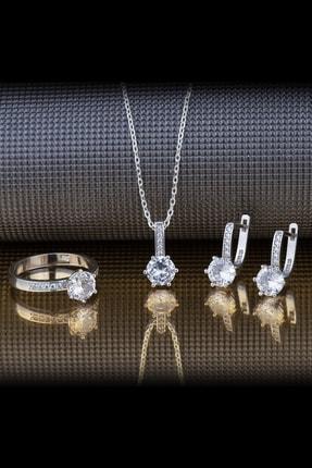 Else Silver Pırlanta Tasarımı Altı Tırnak Tek Taş Gümüş Takı Seti
