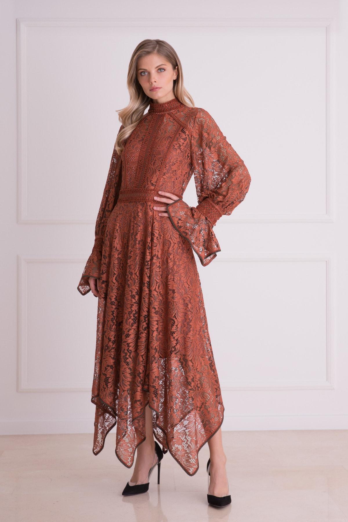 xGIZIA Kadın Kiremit Asimetrik Kesim Uzun Elbise 1