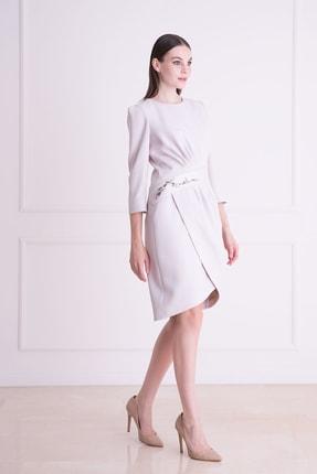 xGIZIA Kadın Gri Taş İşlemeli Truvakar Kol Midi Elbise