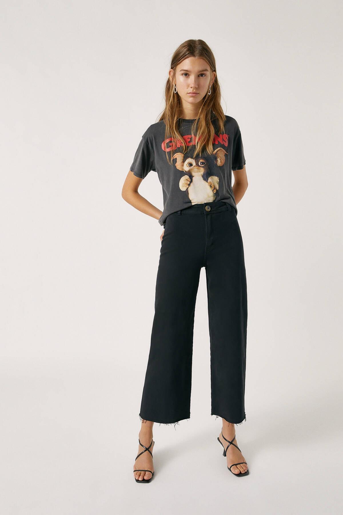 Pull & Bear Kadın Siyah Yanları Dikişsiz Crop Fit Pantolon 09678302 1