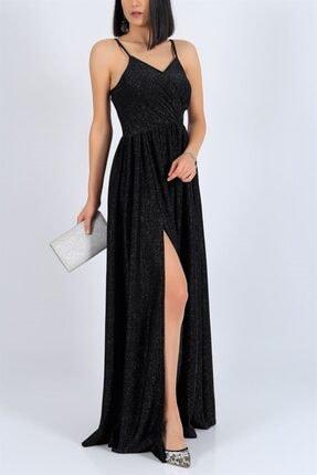 bayansepeti Kadın Siyah Işıltılı Kumaş Göğüs Dekolteli Yırtmaç Detaylı Uzun Siyah Abiye Elbise