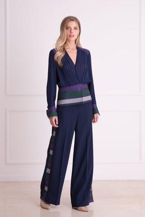 xGIZIA Kadın Lacivert Bol Paça Çizgi Detaylı Kumaş Pantolon