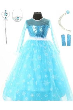 DEHAMODA Kız Çocuk Mavi Uzun Kol Tarlatanlı Taç Asa Saç Eldiven  Elsa Elbise