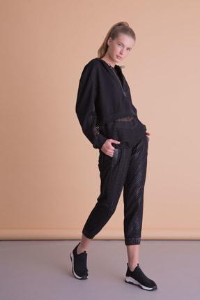 xGIZIA Kadın Siyah File Detaylı Jogger Pantolon