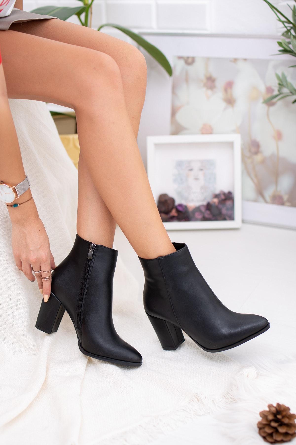 Diardi Kadın Siyah Topuklu Bot 2