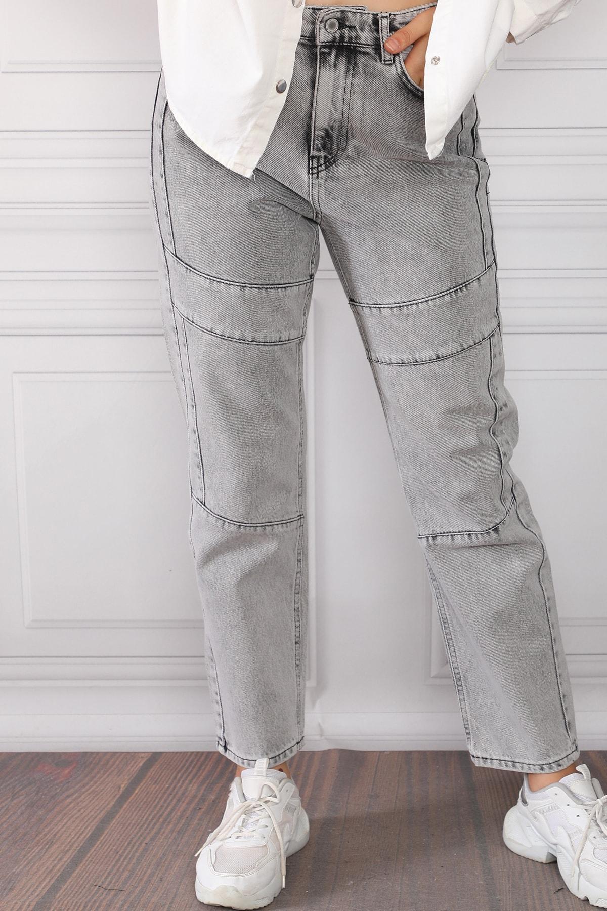 Beyaz Giyim Moda Kadın Gri Çizgi Detaylı Yüksek Bel Mom Jeans Kot Pantolon 1