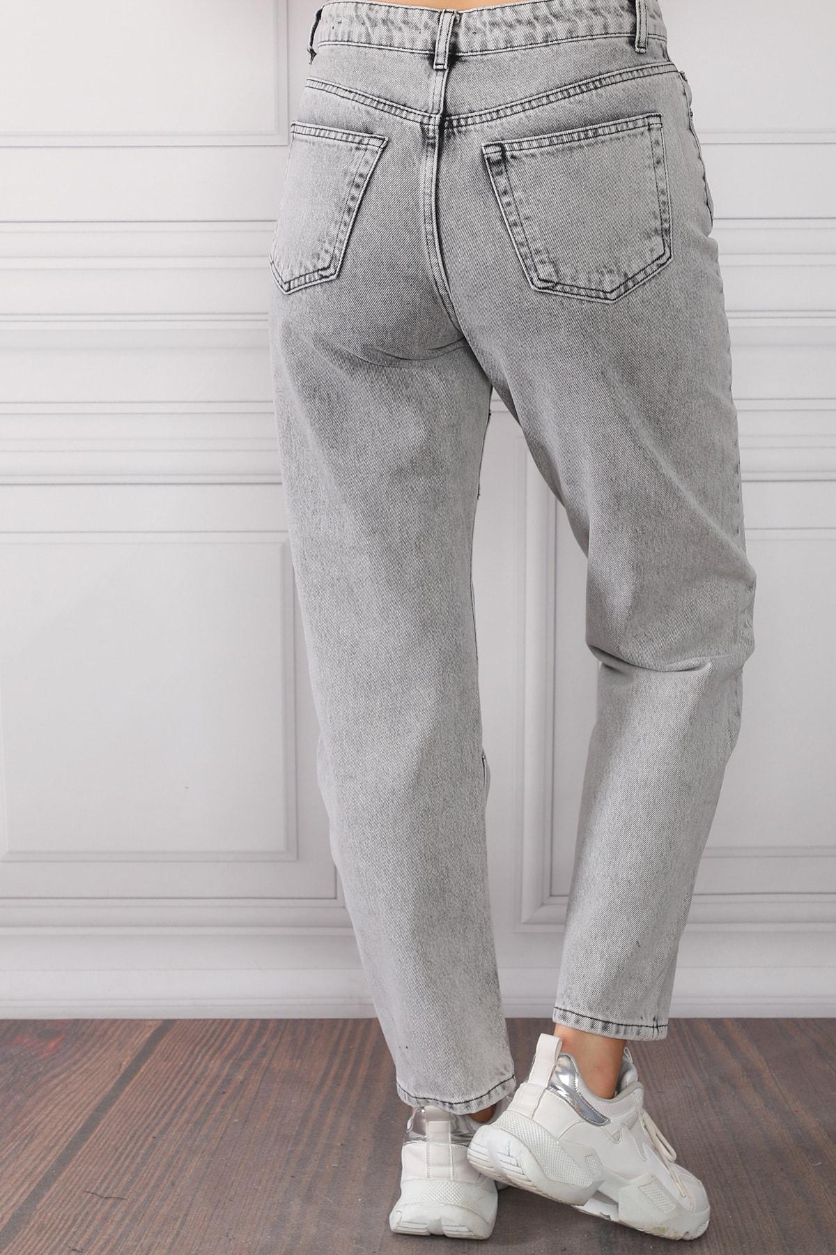 Beyaz Giyim Moda Kadın Gri Çizgi Detaylı Yüksek Bel Mom Jeans Kot Pantolon 2