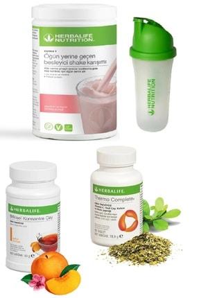 Herbalife Ahududu Beyaz Çikolata Shake 50 gr Şeftali Aromalı Çay Thermo Complete ve Shaker Set