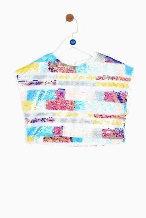 Tyess Kız Çocuk Renkli Çizgili Crop Top Bluz