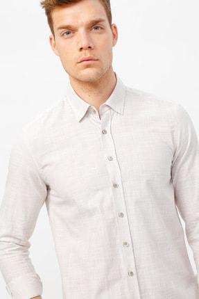 ALTINYILDIZ CLASSICS Erkek Bej Tailored Slim Fit Çizgili Gömlek