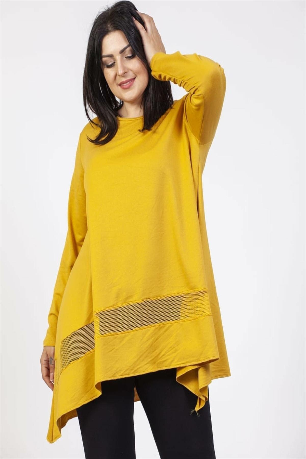 SİZ Kadın Sarı Eteği Tasarım Renkli Tunik 1