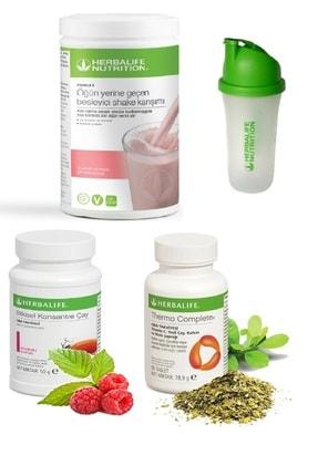 Herbalife Set Ahududu Beyaz Çikolata Shake- 50 Gr Ahududu Aromalı Çay Thermo Complete ve Shaker