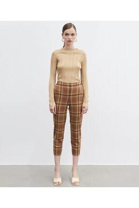 İpekyol Kadın Yeşil Ekose Desen Pantolon