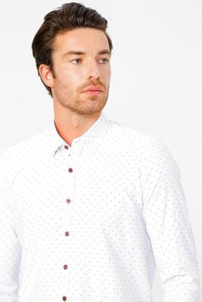 ALTINYILDIZ CLASSICS Erkek Beyaz-Bordo Tailored Slim Fit Baskılı Gömlek