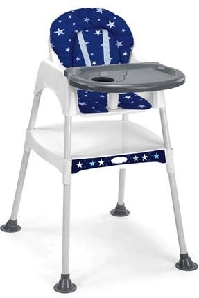 MiniMisi Mavi Çalışma Masalı Özellikli Kalın Minderli Lüx Mama Sandalyesi