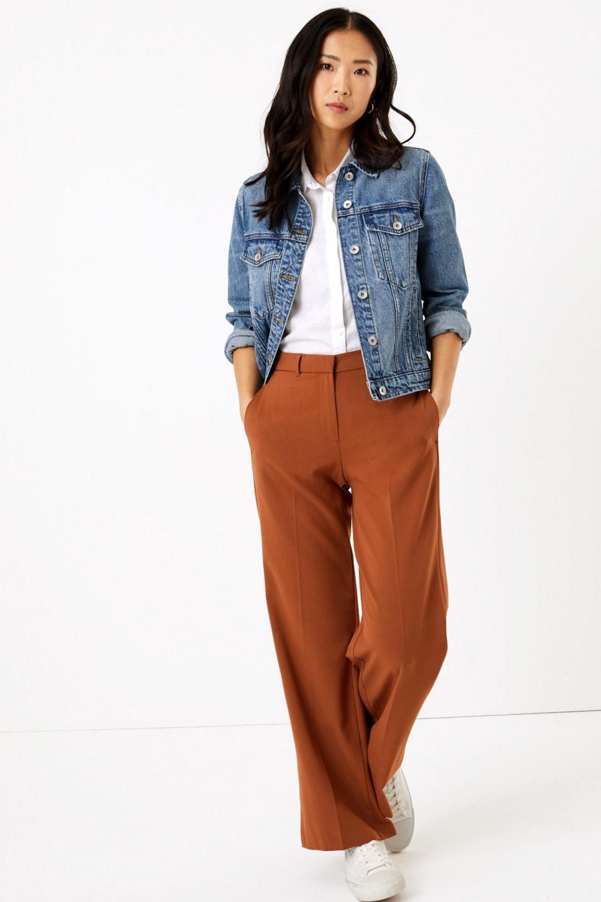 Marks & Spencer Kadın Kahverengi Wide Leg Pantolon T59006637 1