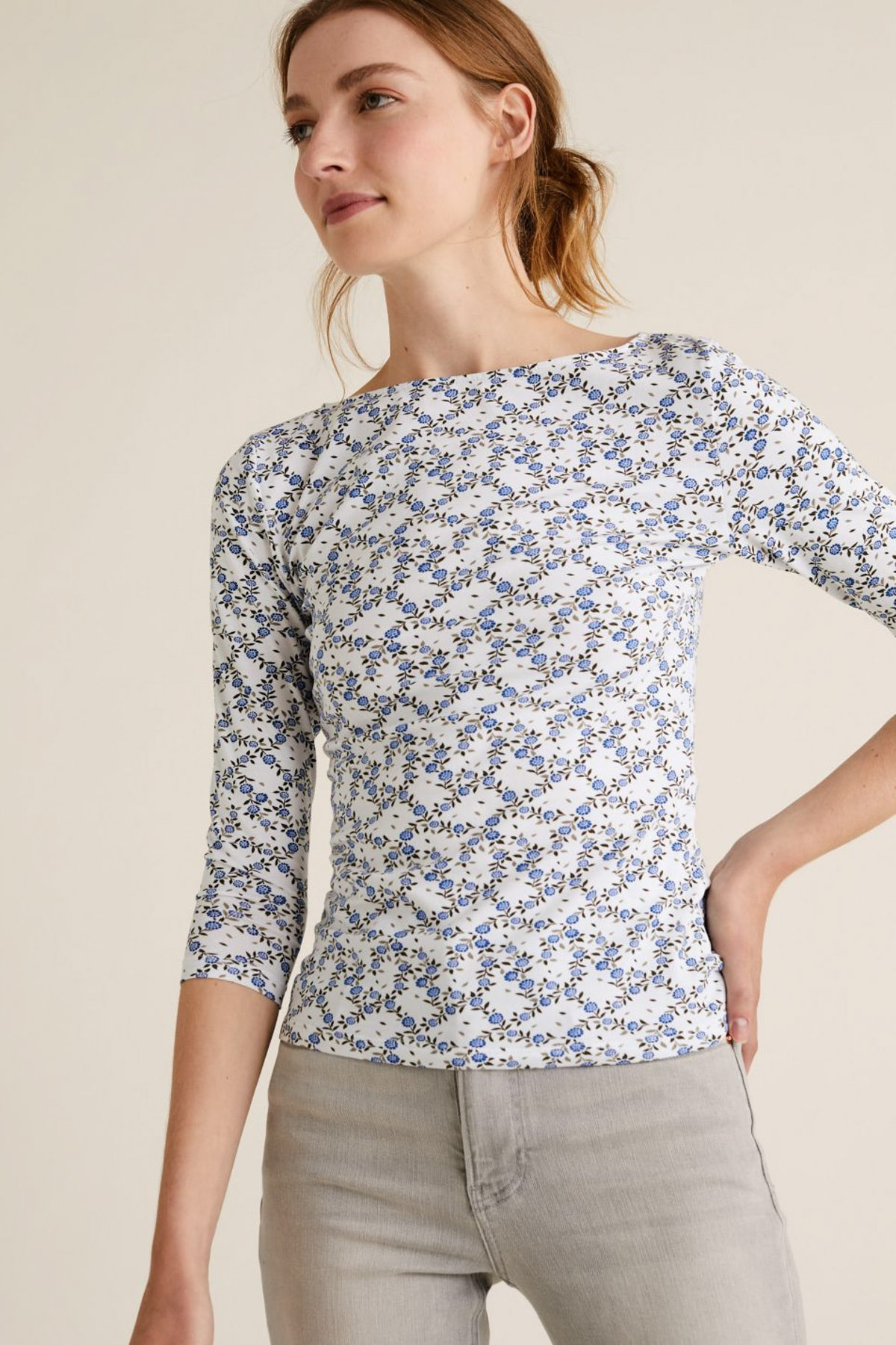 Marks & Spencer Kadın Bej Desenli Kayık Yaka T-Shirt T41004200 1