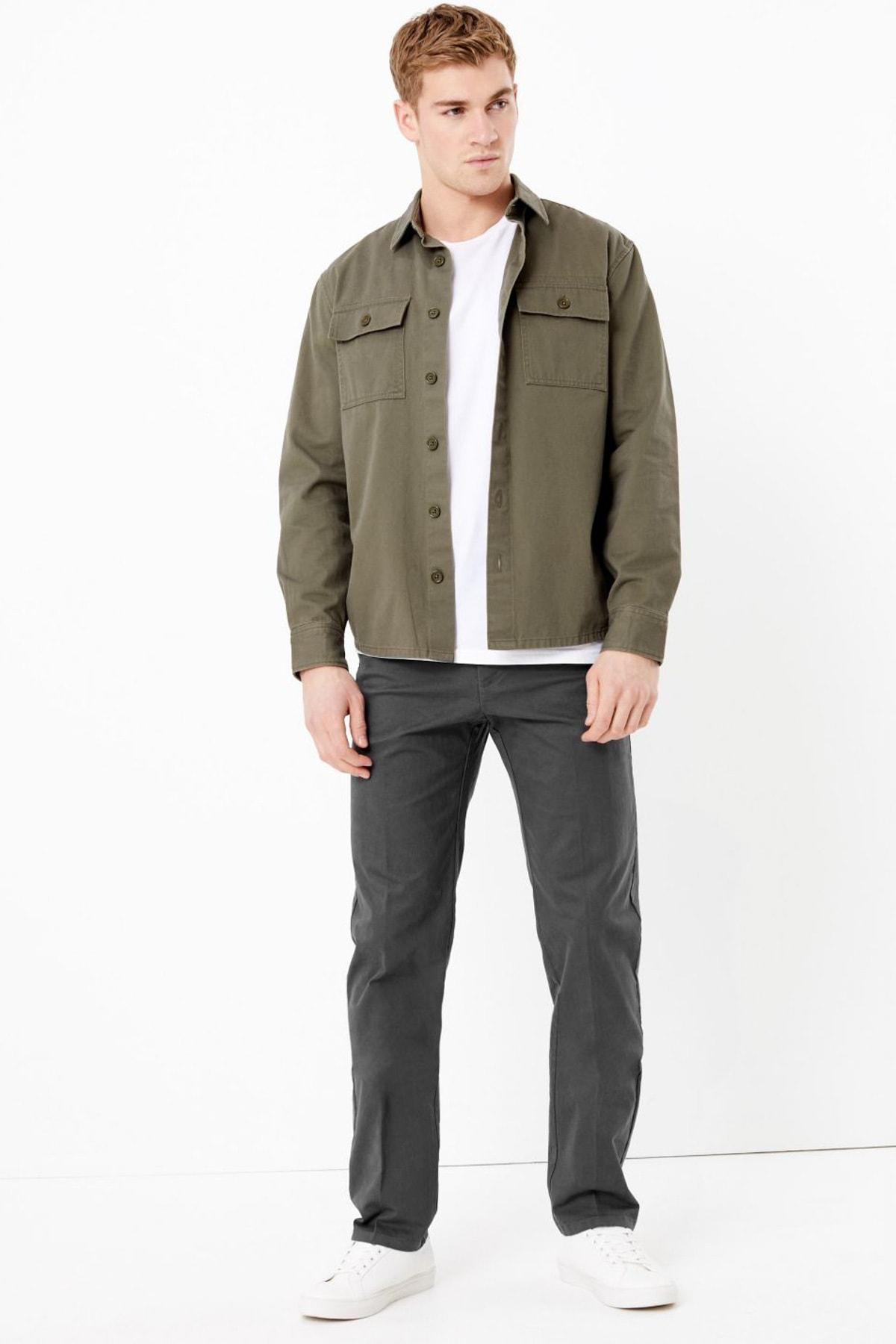 Marks & Spencer Erkek Gri Regular Fit Streç Chino Pantolon T17006612M 1