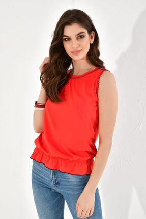 Hanna's by Hanna Darsa Kadın Kırmızı Şerit ve Dikiş Süslemeli Kolsuz Atlet