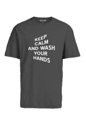 Jack & Jones Erkek Gri Bisiklet Yaka T-shirt 12189118 Jorkeep