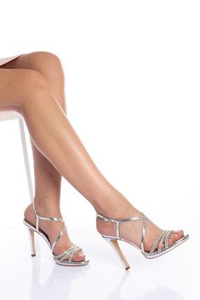 Çnr&Dvs Kadın Gümüş Taşlı Abiye Ayakkabı