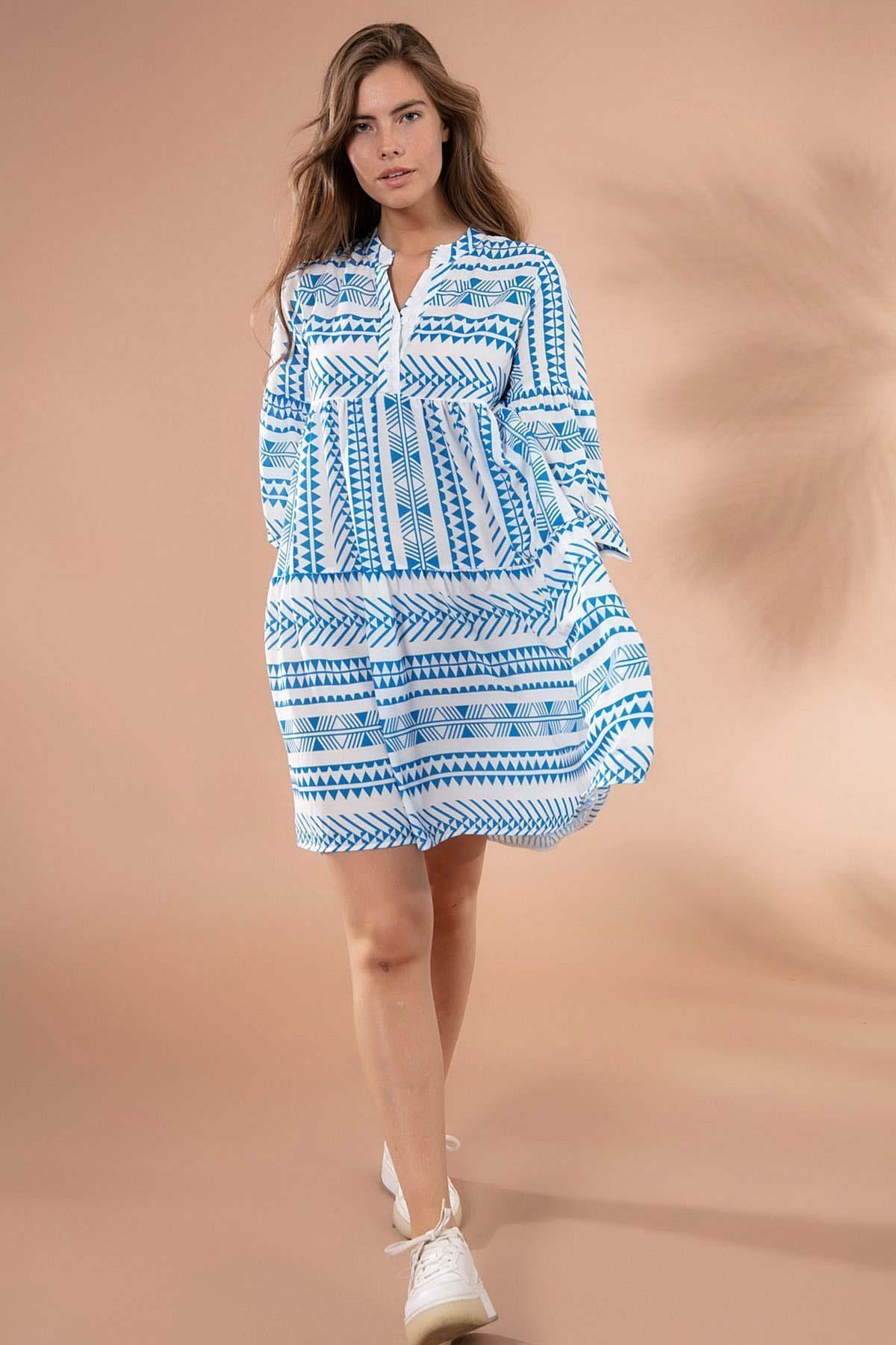 Y-London Kadın Beyaz Mavi Etnik Desenli Hakim Yaka Mini Elbise Y20S110-1975