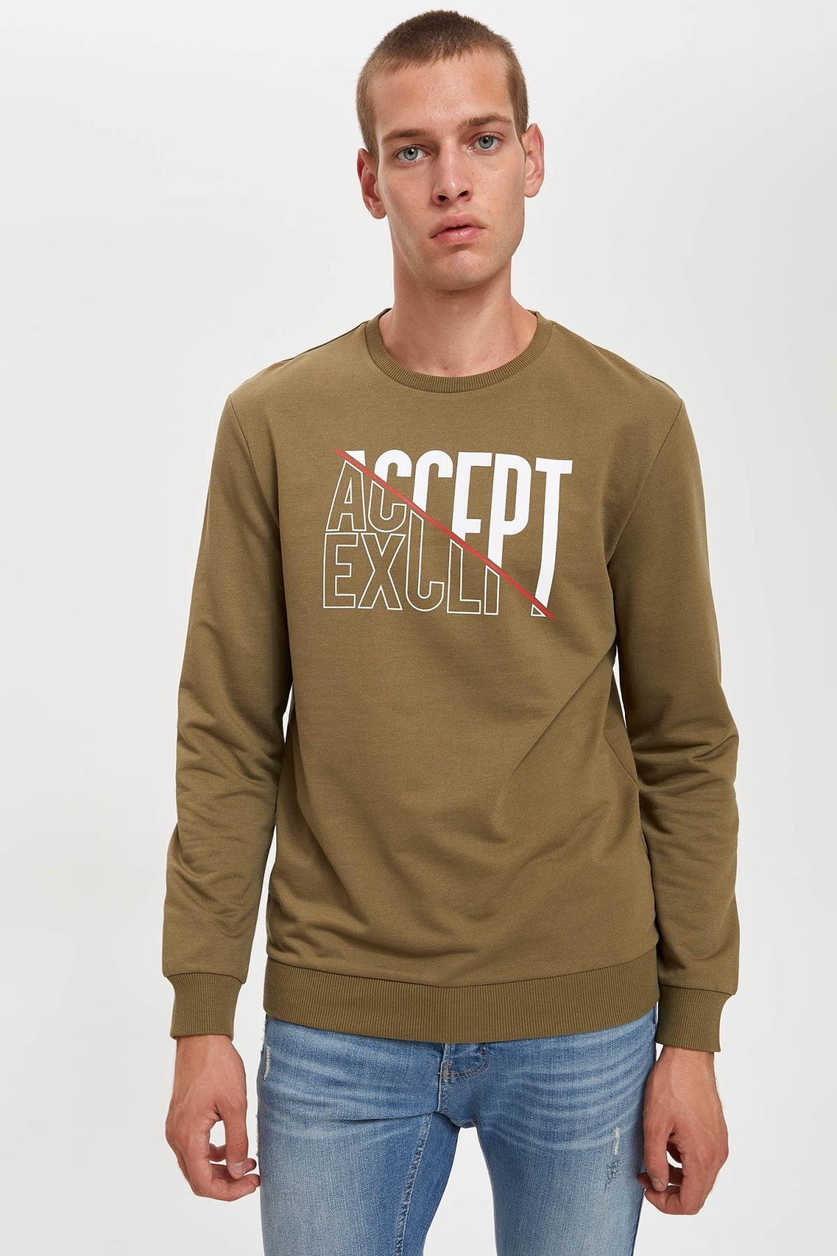 DeFacto Accept Baskılı Bisiklet Yaka Slim Fit Sweatshirt