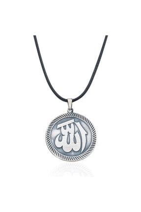Gümüş Pazarım Allah Yazılı Madalyon Gümüş Erkek Kolyesi