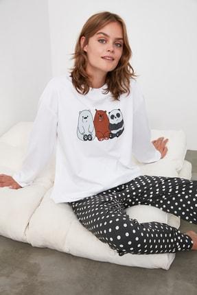 TRENDYOLMİLLA Puantiyeli Baskılı Örme Pijama Takımı THMAW21PT0246