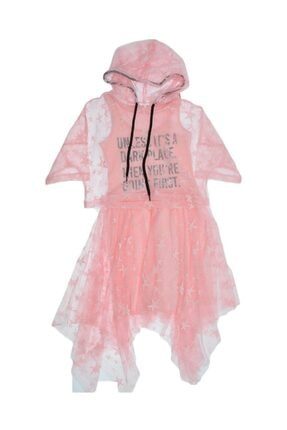 anakuzusu Marions Mtk-9211 Kız Çocuk Dantel Kapişon Aksesuarlı Elbise