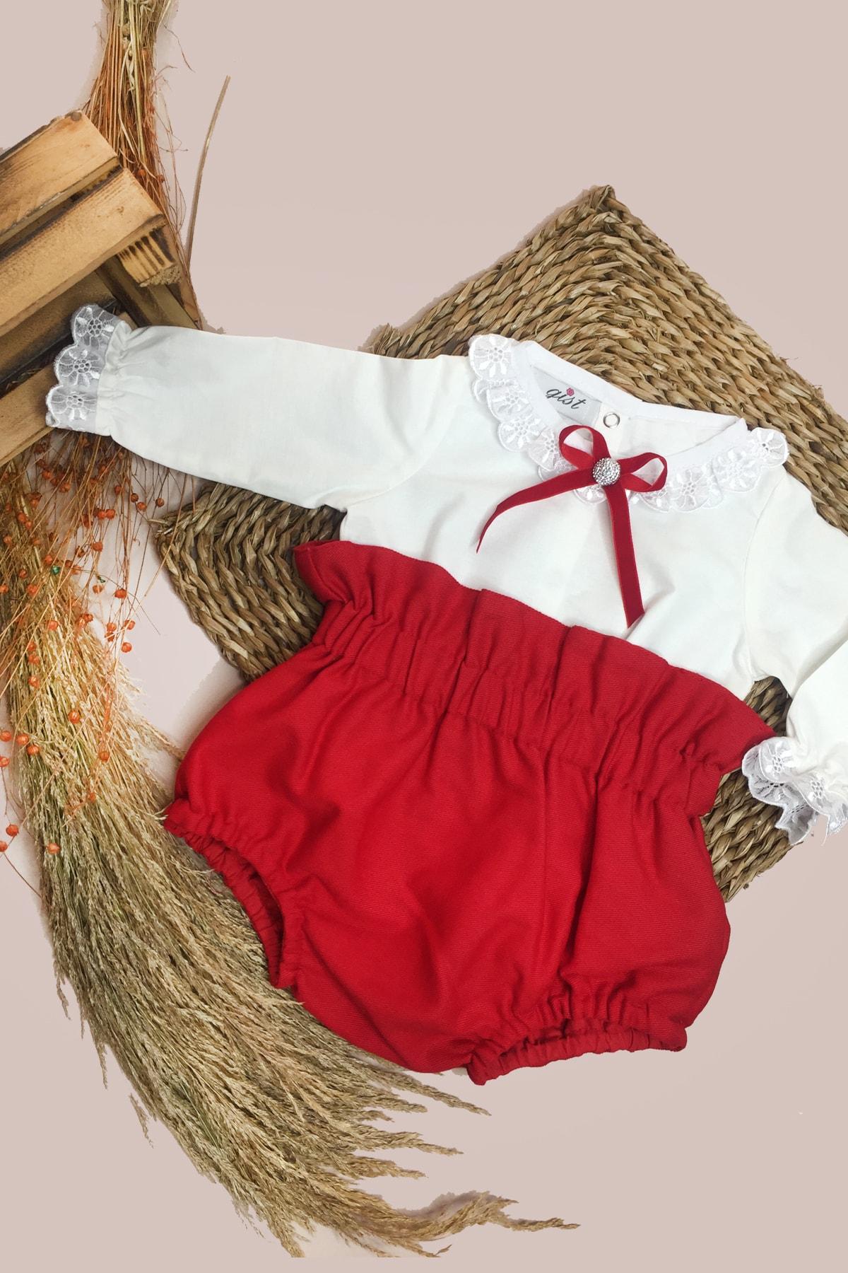 GİST Kız Bebek Kırmızı Gabardin Romper Beyaz Yakası Kolları Dantel Detaylı Bluz Takım 1