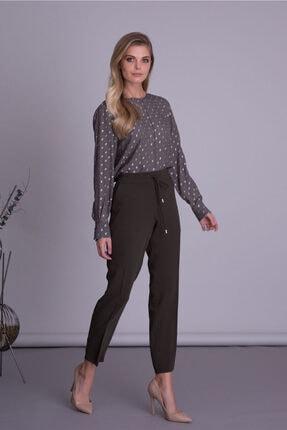 GIZIA CASUAL Kadın Haki Renk Havuç Kesim Kumaş Pantolon