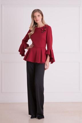 xGIZIA Kadın Siyah Bol Paça Dökümlü Kumaş Pantolon